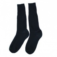 navy calf length socks with green stripe